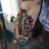 Born drinker skull tattoo