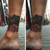 born pantherhead and rose tattoo