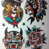 Tattoojoris flash cowgirl devil rose