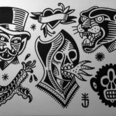 Tattoojoris flash panther skull wizzard