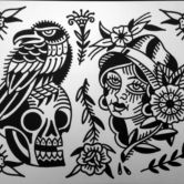 Tattoojoris flash skull crow gipsy