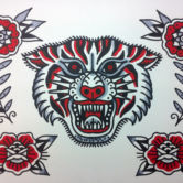 Tattoojoris flash tiger roses