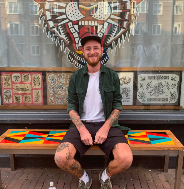 Picture of Bram Boeman an artist at Tattoo Joris and Co in Amsterdam
